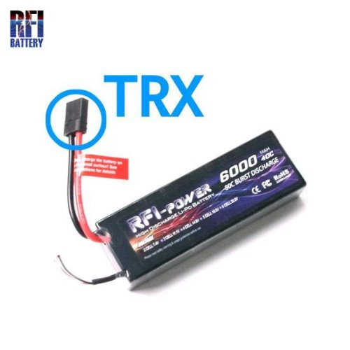LI-PO 2CELLS 7.4V HARD CASE 6,000mAh 40-80C BATT(TRX)