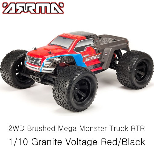 (조종기,배터리 포함)ARRMA 1/10 Granite Voltage 2WD Brushed Mega Monster Truck RTR,Red/Black 입문용 RC카
