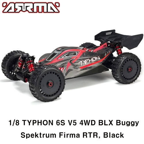 V5 ARRMA 1:8 TYPHON 6S V5 4WD BLX Buggy with Spektrum Firma RTR, Black