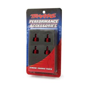 AX3767X Shock caps, aluminum (red-anodized) (4) (fits all Ultra Shocks)