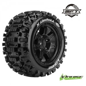 [L-T3297B] X-UPHILL MFT MONSTER TRUCK TIRE SPORT / BLACK RIM HEX 24MM / MOUNTED (반대분)