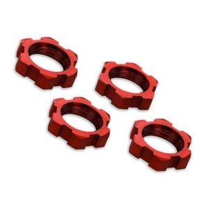 [AX7758R] Wheel nuts, splined, 17mm, serrated (red-anodized) (4)