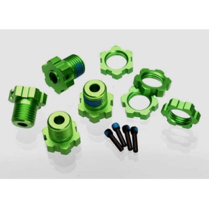 AX5353G Wheel hubs, splined, 17mm (green-anodized) (4)/ wheel nuts, splined, 17mm (blue-anodized) (4)/ screw pins, 4x13mm (with threadlock) (4)