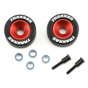 AX5186 Wheels, aluminum (red-anodized) (2)/ 5x8mm ball bearings (4)/ axles (2)/ rubber tires (2)