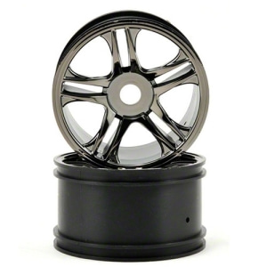 AX6476 Traxxas Rear Wheels (Black Chrome) (2)
