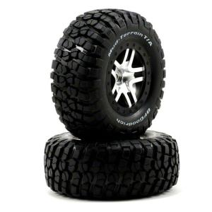 AX6873 Traxxas Pre-Mounted BFGoodrich Mud TA Tire & SCT Split-Spoke Wheel (Satin Chrome) (2) (Rear)
