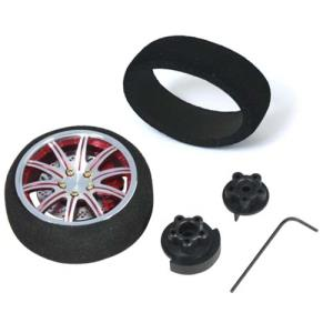 [56806R] (송신기 스티어링 옵션 휠) Red colour silver flange Aluminum Pistol Transmitter Steering Wheel[10 spoke]