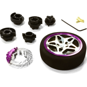 [C26406GUNPURPLE] Dual 5 Spoke Steering Wheel Set for Most HPI, Futaba, Airtronics, Hitec & KO