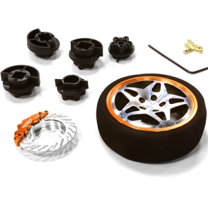 [C26406GUNORANGE] Dual 5 Spoke Steering Wheel Set for Most HPI, Futaba, Airtronics, Hitec & KO