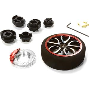 [C26404BLACKRED] V10 Spoke Steering Wheel Set for Most HPI, Futaba, Airtronics, Hitec & KO