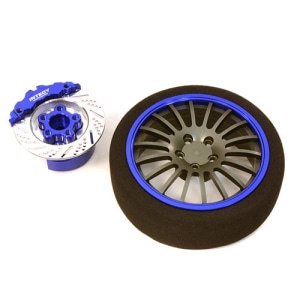 [C26910BLUE] Billet Machined Alloy 18 Spoke Steering Wheel Set for Traxxas Radio Transmitter