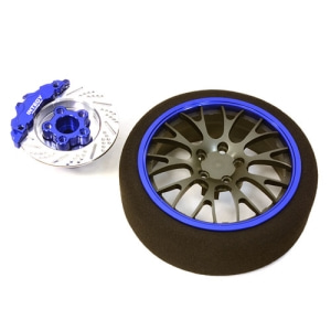 [C26908BLUE] Billet Machined Alloy 20 Spoke Mesh Steering Wheel Set for Traxxas Radio