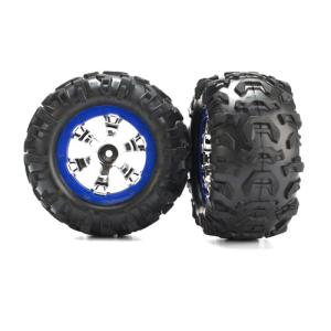 AX7274 Tires/Wheels Assembled Blue Beadlock 1/16 Summit