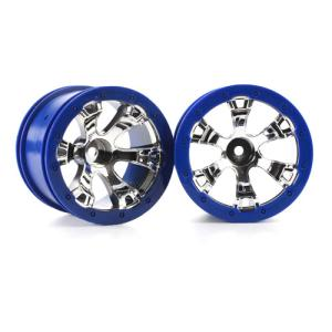 AX7273 Wheels, Geode 2.2인치(chrome, blue beadlock style) (12mm hex) (2)