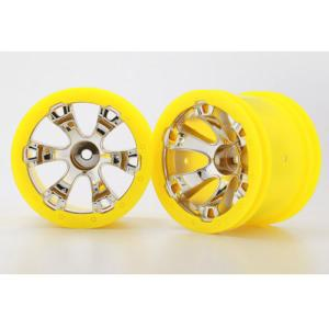 AX7275 Wheels, Geode 2.2인치 (chrome, yellow beadlock style) (12mm hex) (2)