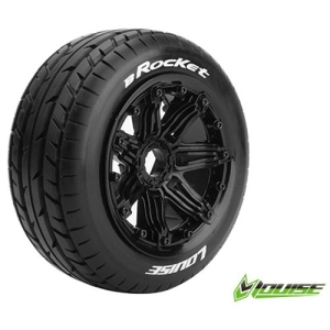 L-T3266B B-ROCKET 1/5 BUGGY FRONT TIRE SPORT / BLACK RIM HEX 24MM / MOUNTED(본딩완료 / 반대분)