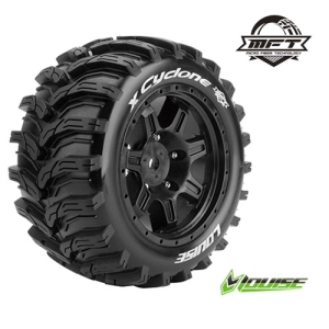 L-T3298B X-CYCLONE TRAXXAS X-MAXX용 MFT MONSTER TRUCK TIRE SPORT / BLACK RIM HEX 24MM / MOUNTED (반대분)
