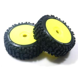 L-T324SY B-ULLDOZE 1/8 Buggy Tire Soft Compound / Yellow Rim / 본딩완료 (반대분)
