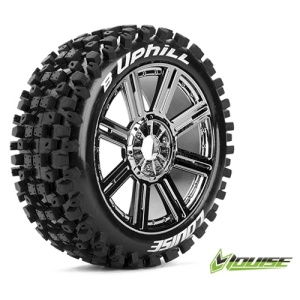 L-T3271BC B-UPHILL 1/8 Buggy Tire SPORTS / Chrome Rim / Mounted (반대분, 본딩완료)