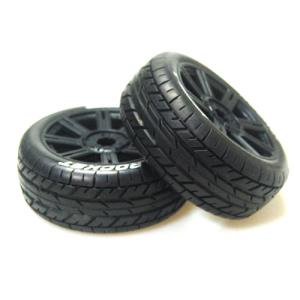 L-T3190SB B-ROCKET 1/8 BUGGY TIRE (SOFT COMPOUND/BLACK SPOKE RIM MOUNTED)