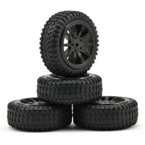 LOSB1584 Tires, Mounted, Black: Micro Rally(4)