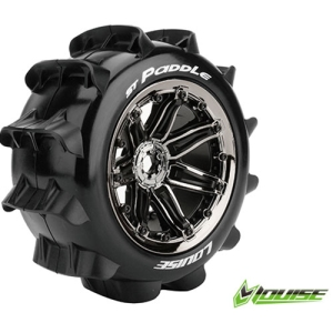 L-T3290BC ST-PADDLE 1/8 STADIUM TRUCK TIRE/ SPORT / BLACK CHROME SPOKE RIM HEX 17MM / MOUNTED (본딩완료 / 반대분)
