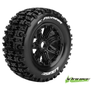 L-T3292B SC-PIONEER 1/5 SC TIRE SPORT / BLACK RIM HEX 24MM / MOUNTED (반대분)