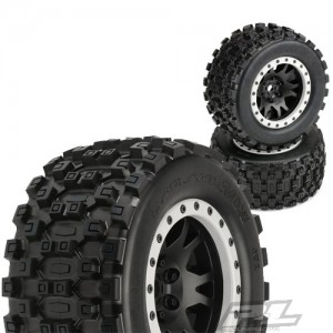 [AP10131-13] Badlands MX43 Pro-Loc All Terrain Tires Mounted for X-MAXX Front or Rear, Mounted on Impulse Pro-Loc Black Wheels with Stone Gray Rings