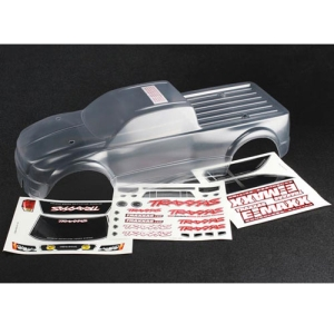 AX3915 Body, E-Maxx Brushless (clear, requires painting)/ decal sheet