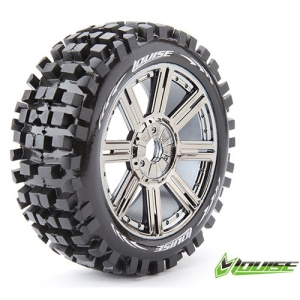 L-T324SBC B-ULLDOZE 1/8 BUGGY TIRE SOFT COMPOUND BLACK CHROME SPOKE RIM/MOUNTED
