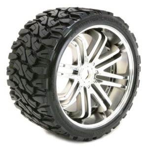 SRC0002S SWEEP TERRAIN CRUSHER BELTED TYRE ON SILVER 17MM WHEELS 1/4 OFFSET (2pcs)