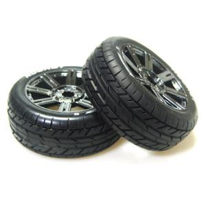L-T3190SBC B-ROCKET 1/8 BUGGY TIRE (SOFT COMPOUND/CHROME SPOKE RIM MOUNTED)