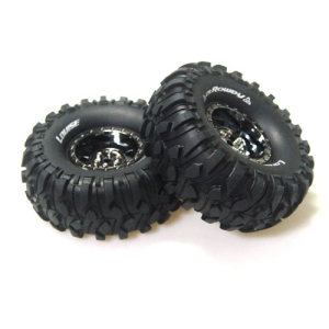 L-T3233VBC CR-ROWDY 1/10 Scale 1.9인치 Crawler Tires Super Soft Compound / Black Chrome Rim / 12mm HEX
