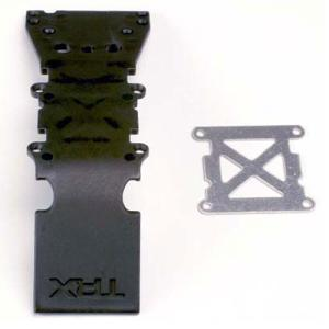 AX4937 Skidplate, front plastic (black)/ stainless steel plate