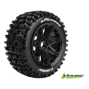 L-T3267B B-PIONEER 1/5 BUGGY FRONT TIRE SPORT / BLACK RIM HEX 24MM / MOUNTED (본딩완료 / 반대분)