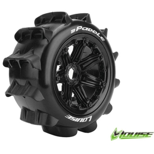 L-T3280B B-PADDLE 1/5 BUGGY REAR TIRE SPORT / BLACK RIM HEX 24MM / MOUNTED (본딩완료 / 반대분)
