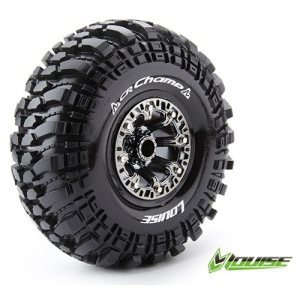 L-T3236VBC CR-CHAMP 2.2인치 CRAWLER TIRE SUPER SOFT COMPOUND BLACK CHROME RIM/MOUNTED