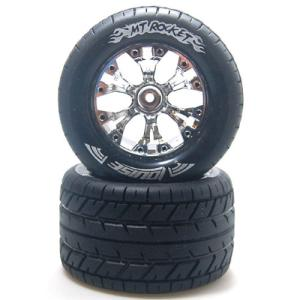 "L-T3201SCH MT-ROCKET Soft Compound / Chrome Rim / 1/2"" OFFSET 1/10 Scale Traxxas Style Bead 2.8인치 Monster Truck (2)"