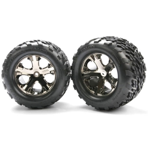 AX3668A Tires & wheels, assembled, glued (2.8) (All-Star black chrome wheels, Talon tires, foam inserts) (electric rear) (2)