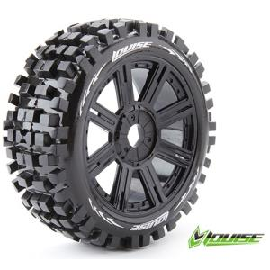 L-T324SB B-ULLDOZE 1/8 BUGGY TIRE SOFT COMPOUND BLACK SPOKE SPOKE RIM/MOUNTED