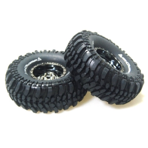 L-T3231VBC CR-CHAMP 1/10 Scale 1.9인치 Crawler Tires Super Soft Compound / Black Chrome Rim / 12mm HEX