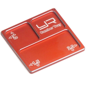YA-0330OR Yeah Racing 2 In 1 Aluminum Camber Gauge Tray 1.0 1.5 2 Angles Orange For 1/10