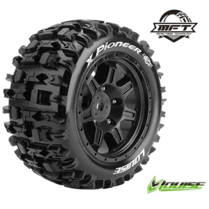 [입고완료]L-T3296B X-PIONEER TRAXXAS X-MAXX용 MFT MONSTER TRUCK TIRE SPORT / BLACK RIM HEX 24MM / MOUNTED(반대분)