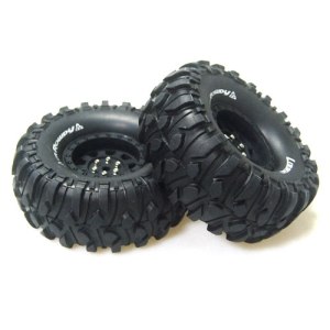 L-T3233VB CR-ROWDY 1/10 Scale 1.9인치 Crawler Tires Super Soft Compound / Black Rim / 12mm HEX