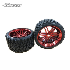 SWSRC0002R TERRAIN CRUSHER BELTED TIRE RED WHEEL 1/4 OFFSET 2PCS 17MM HEX