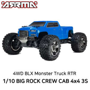 AR102711 ARRMA 1:10 BIG ROCK CREW CAB 4x4 3S BLX Brushless RTR, Blue