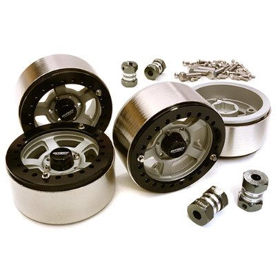 1.9 Size Machined High Mass Wheel (4) w/14mm Offset Hubs for 1/10 Scale Crawler C27032HARD