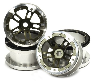 2.2휠 Billet Machined Alloy Dual 5 Beadlock Wheel (4) for Axial Wraith w/ 12mm Hex C24816GUN