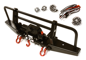 Realistic Front Alloy Bumper w/ Winch & LED for Traxxas TRX-4 w/ 43mm Mount C28030BLACK