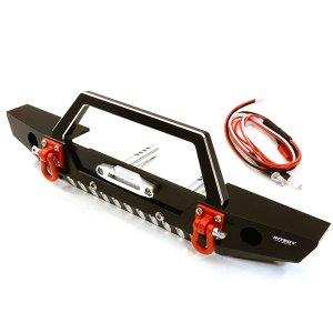 Realistic Alloy Machined Scale Front Bumper w/LED Lights for Axial 1/10 SCX10 II C26992BLACK